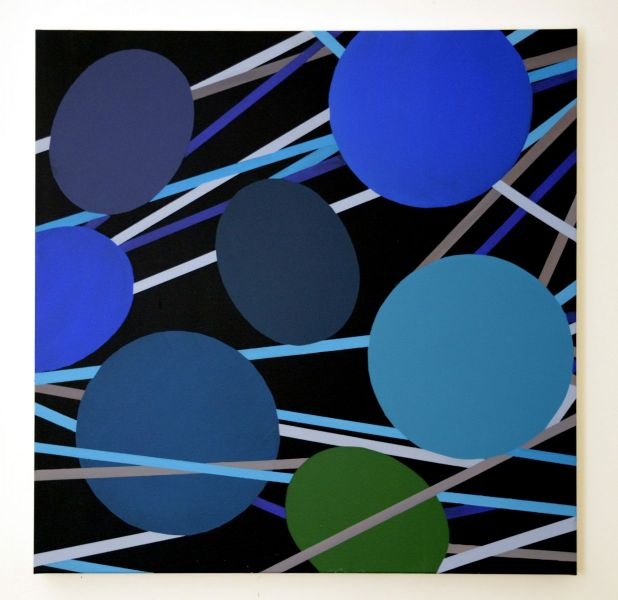 Ovale und Kreise in Blau, Grau und Grün