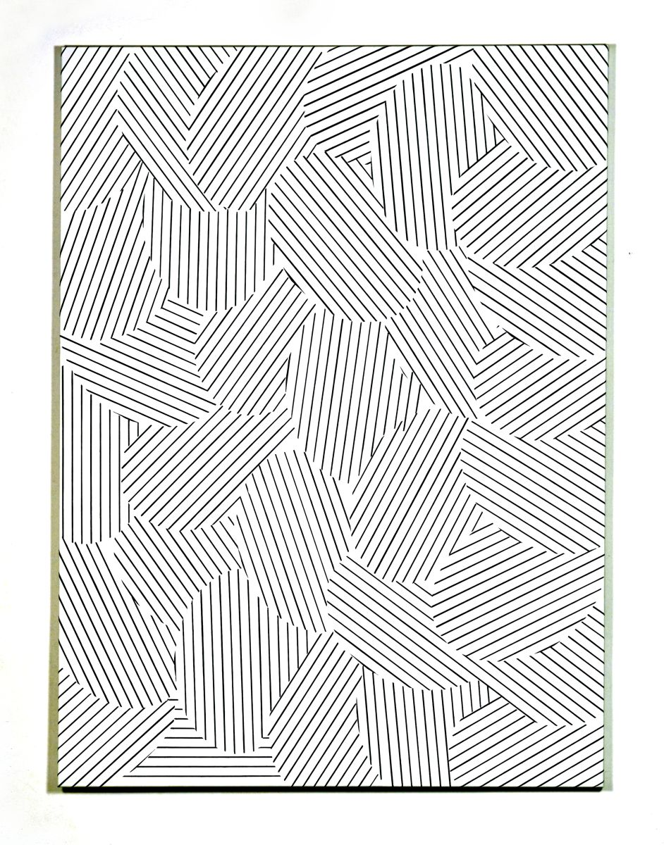 black fine lines and ovals on white canvas